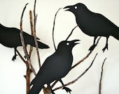 FIVE pressboard CROWS  / life size / OvEr the HiLL theme party / HaLLoWeeN