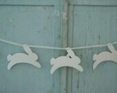 bunny garland bunting....heavy watercolor paper bunnies strung on gossamer ribbon