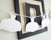 CUSTOM 10 wedding dress garland / GUEST BOOK / strung on gossamer ribbon / bridal shower decoration / bunting
