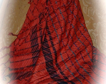 1980s Rayon  Red Fringed Scarf.