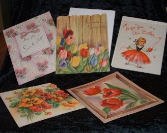 1940s and 1950s Get Well Greeting Cards.