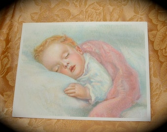 1920s 1930s Lithograph of Sleeping Baby.