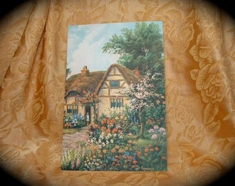 1920s 1930s Lithograph Print of Will Thompson Country Cottage.