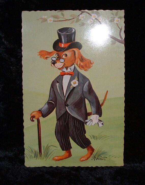 Vintage Decked Out Dog Postcard.