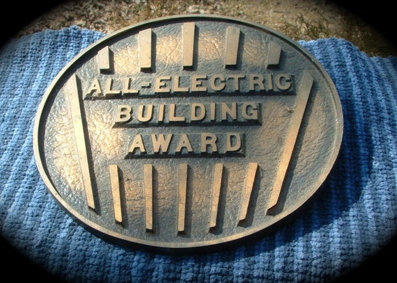Vintage Bronze Cast All Electric Building Award Plaque.