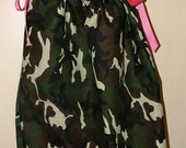 Custom Listing for Angela Ashby - 2 Camo pillowcase dresses with ivory/tan ties