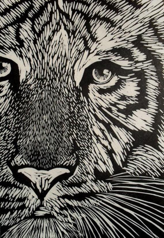 Items similar to white tiger linocut print on etsy