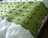 RESERVED for melissam45 Sale Green and Yellow Flower Lily Pad Afghan Blanket Vintage Adorable
