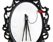 Large Format Camera on Tripod with Red Bird - Victorian Framed Object - Wall Art Decor 7x10in