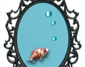 Goldfish with Bubbles Mounted in Victorian Frame - Wall Art Decor 7x10in
