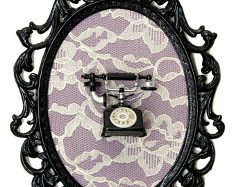 Miniature Vintage Telephone on Lace in Vicotrian Frame - Wall Art Decor 7x10in