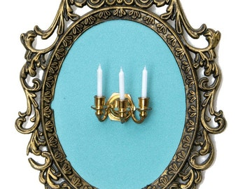 Miniature Wall Sconce with 3 Candles - Victorian Framed Object - Wall Art Decor 4x6 in