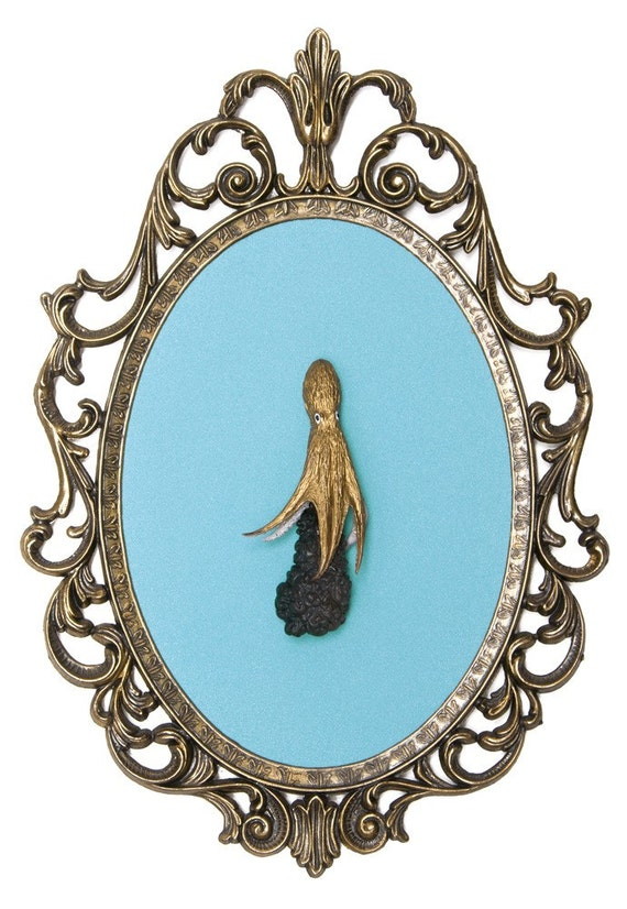 Gold Octopus with Ink - Victorian Framed Object - Wall Art Decor 7x10in