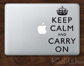 Keep Calm and Carry On - Vinyl Macbook Laptop Decals - SALE - FREE SHIP