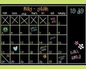 Chalkboard Calendar - MEDIUM - Peel and Stick - FREE SHIP