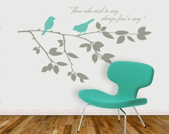 Birds on Branch - Vinyl Wall Decal - QUOTATION