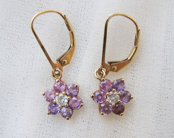 Sapphire and Diamond Flower Earrings with Yellow Gold