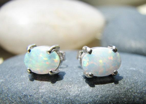 Opal in White Gold Stud Earrings