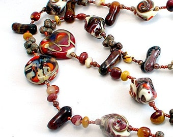 Fall lampwork and stones long beaded necklace  set