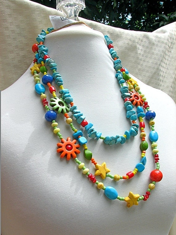 Turquoise Multi color  multi strands long necklace