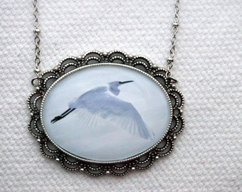 Snowy Egret winter necklace . Photo jewelry on an 18 in silver chain necklace