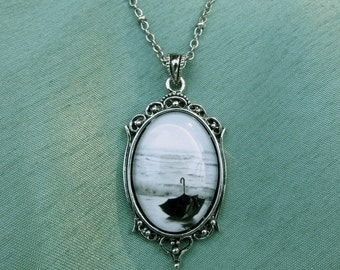 """Umbrella Cameo Pendant on silver necklace. Black and White Photo- """" My Voyage in an Umbrella Across the Sea"""" under glass dome"""