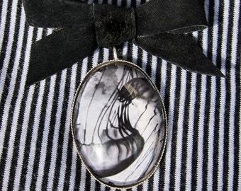 Jellyfish Pin Ocean Jewelry  - Leather bow art brooch featuring black and white photograph under  glass dome