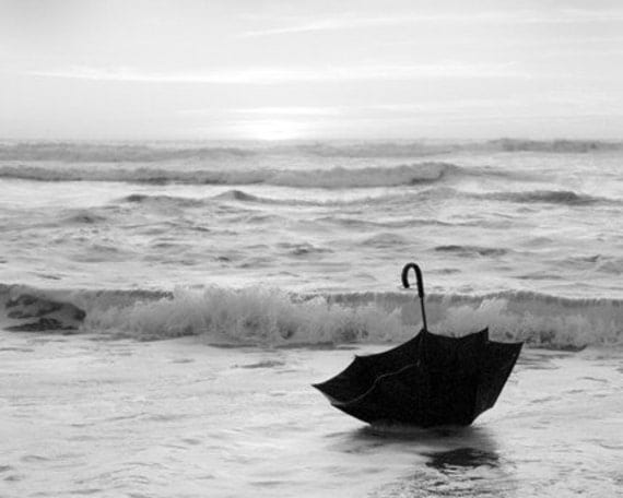 """Black and White Photography, 5 x 7 Photograph Nautical Umbrella Art - """"My Voyage in an Umbrella Across the Sea""""- An original signed photo"""