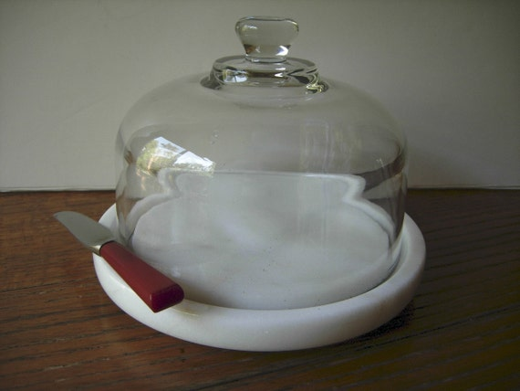 Vintage Marble Cheese Tray With Glass Cloche Reduced