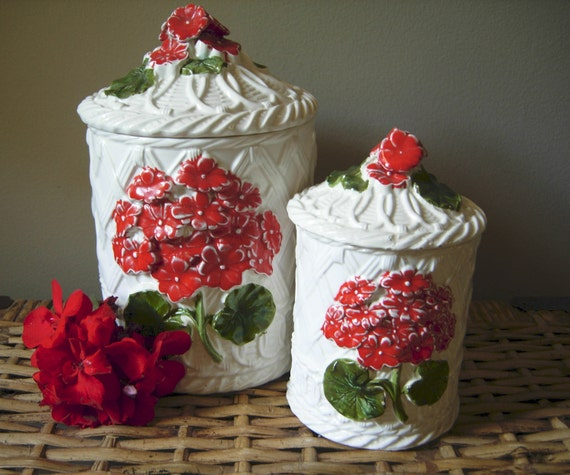 vintage napcoware japan canister set with geraniums
