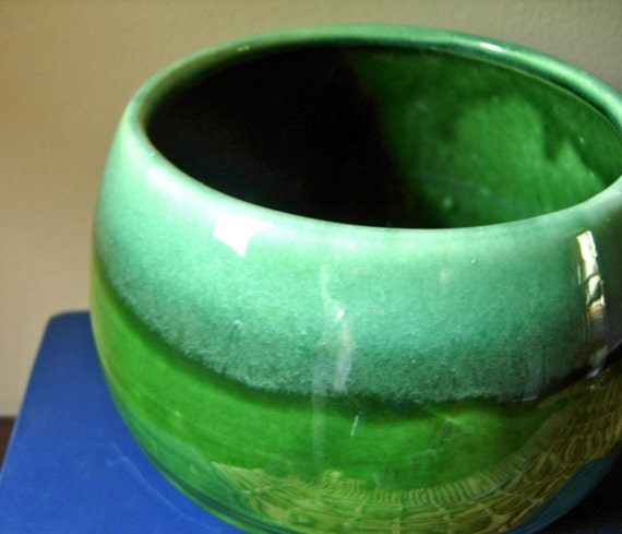 vintage green footed planter with round shape REDUCED PRICE