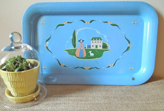 Blue Tin Tray - Lady & Lamb-Little Bo Peep ON SALE