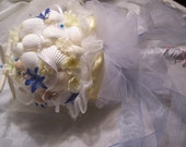 Beach Theme Bridal Bouquet-Flowers and Seashells