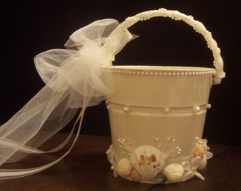 Beach Wedding Seashell Flower Girl Sand Pail