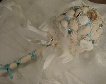 Bridal Bouquet-Aqua & Ivory Seashells