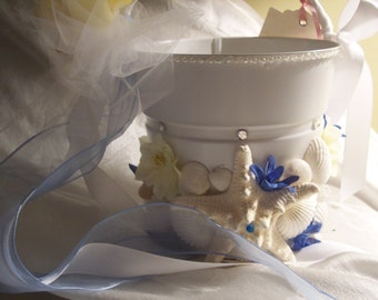 Flower Girl Pail-Flowers and Seashell