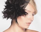 1960's Style Black / Antique Gold Sinamay Base / Head Piece. Antique Gold Appliqué. Handmade Black Feather Burst.