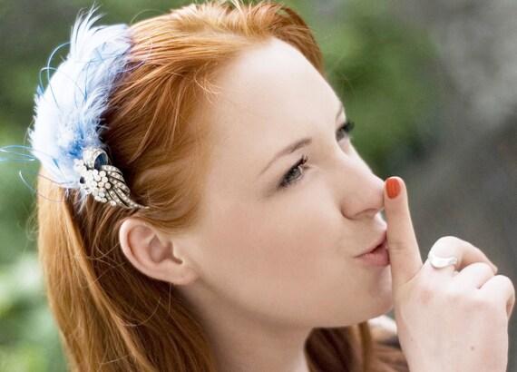 Christmas in July SALE 30% OFF Blue Feather Headpiece/ Hair Clip / Head trim / Wedding Headware / Fascinator / Weddings / Races / Handmade