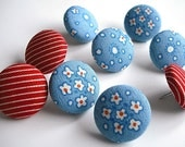 Fabric covered button push pins/ Ditsy blue and red floral