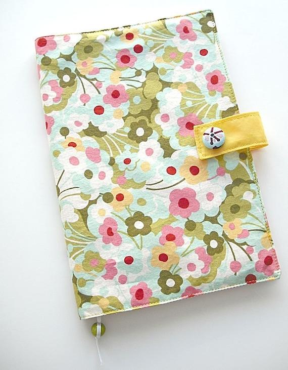 Fabric covered notebook/ Aqua flowers