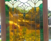 REDUCED!!! 3 Flowers Stained Glass window in Window Frame.