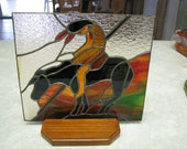 "REDUCED!!!  Stained Glass Panel with wood base of the well known ""The Last Stand"""
