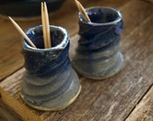 HANDMADE TOOTHPICK HOLDERS, blue and purple swirls made at Hill Country Pottery in Central Texas