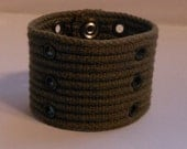Army Green Up-cycled Cuff Bracelet