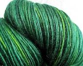 Handspun Yarn  Thick and Thin Single  Merino and Tussah Silk 'Emerald Isle'