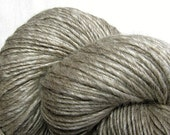 Handspun Yarn Thick and Thin single Natural Mixed Blue Faced Leicester and Tussah Silk 'Steel Cut'