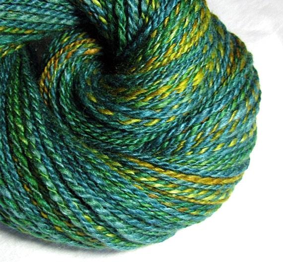 Handspun Yarn Two Ply Blue Faced Leicester and Silk  'Mallard'