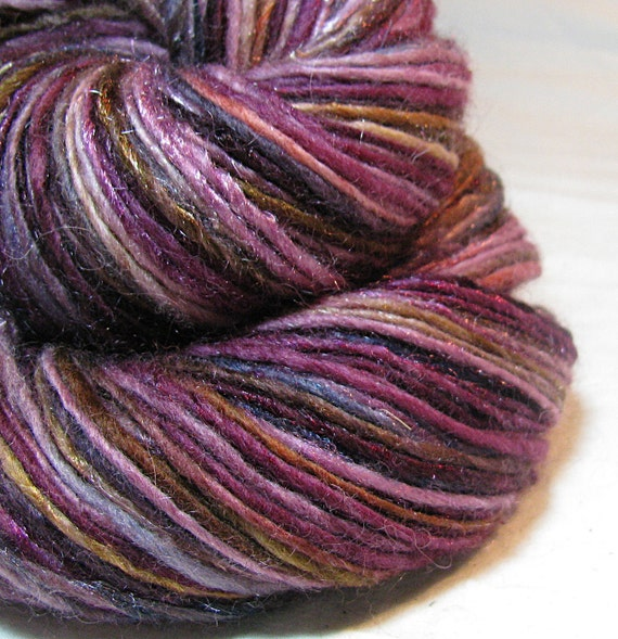 Handspun Yarn Gently Thick and Thin Single  Blue Faced Leicester and Sparkle 'Cabernet'