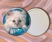 Kitten on Plaid Pocket Mirror