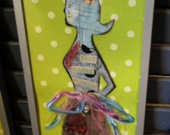 Framed Princess Queen Paper Doll Lady Silhouette Green Polka Dots